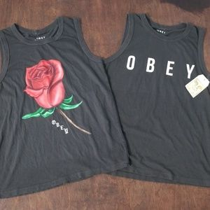 New OBEY Graphic Print Grey Tank Tops